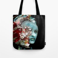 mask Tote Bags featuring Mask by Irmak Akcadogan