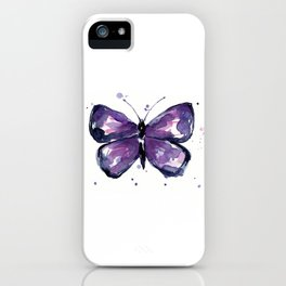 Purple Butterfly Watercolor Abstract Animal Art iPhone Case