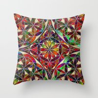 flower of life Throw Pillows featuring Flower of Life variation by Klara Acel