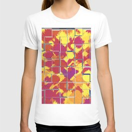 Squares Red & Yellow Abstract T-shirt