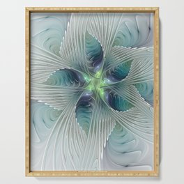 A Floral Fantasy, Abstract Fractal Art Serving Tray