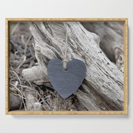 Beach Love Slate Heart on sea washed driftwood Serving Tray
