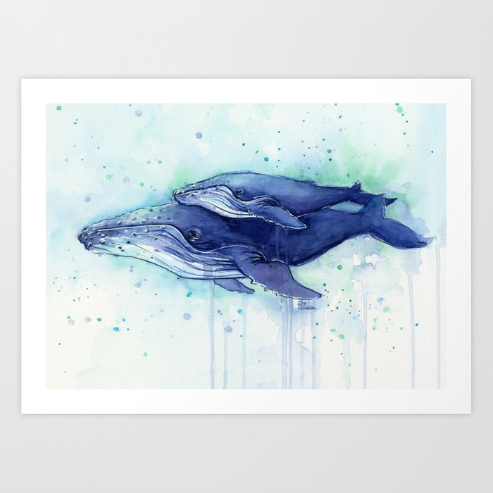 Humpback Whale Watercolor Mom and Baby Painting Whales Sea Creatures Art Print