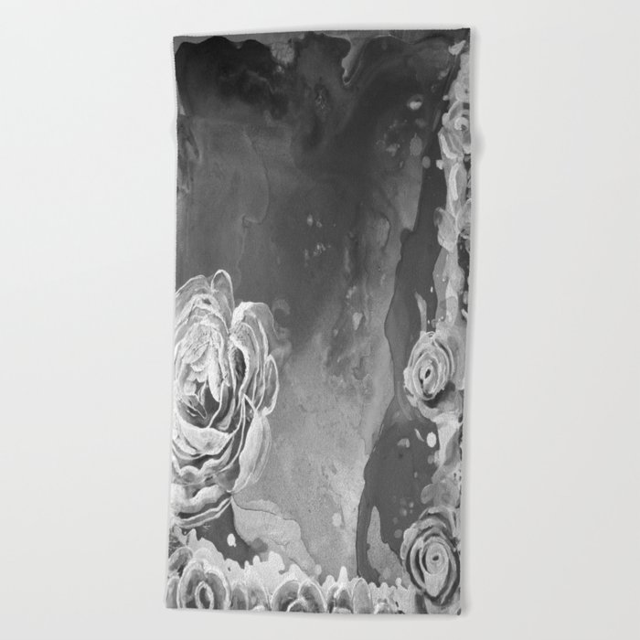 Mad Lucy's Golden Roses. Yellow Roses and Galaxy Blue in Black and White Shadow Beach Towel