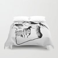 three of the possessed Duvet Covers featuring Possessed by the Mountains by Le Bureau Noir Studio