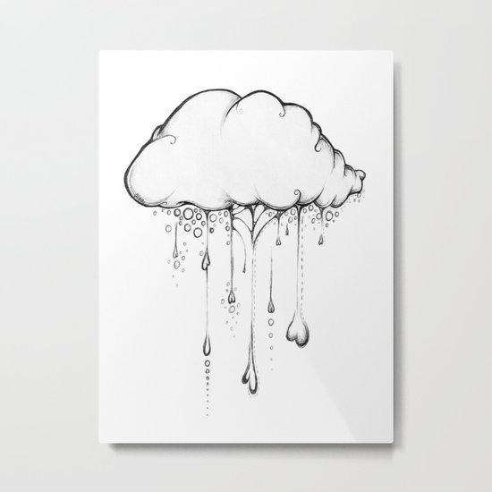 Happy Cloud Drawing, Cute Whimsical Illustration Metal Print
