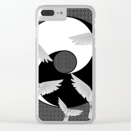 B&W  YIN & YANG Taoism/Daoism PEACE DOVES Clear iPhone Case