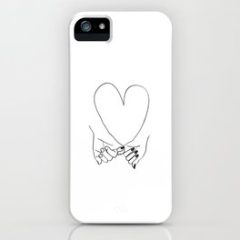 Pinky Promise His and Hers Romantic Love Illustration iPhone Case