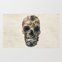 skull Area & Throw Rugs featuring Skull Town by Ali GULEC