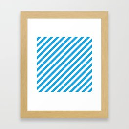Oktoberfest Bavarian Blue and White Candy Cane Stripes Framed Art Print