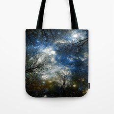 Black Trees Blue Olive Brown Space Tote Bag