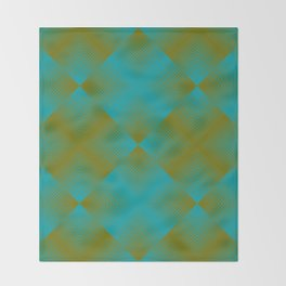 gradient squares pattern aqua olive Throw Blanket