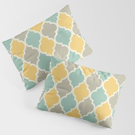 Colorful Quatrefoil Lattice Pattern 139 Yellow Sage and Grey Pillow Sham