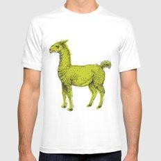 llama Mens Fitted Tee White MEDIUM