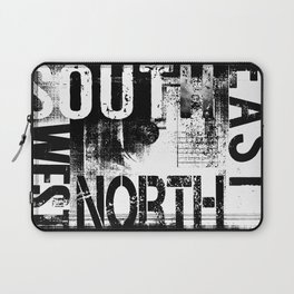 East South North West Black White Grunge Typography Laptop Sleeve