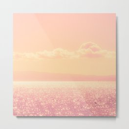 Dreamy Champagne Pink Sparkling Ocean Metal Print