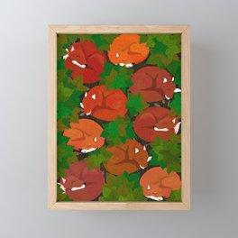 Sleepy foxes and Grapevine leaves Framed Mini Art Print