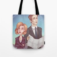 dana scully Tote Bags featuring Mulder & Scully by Kaz Palladino