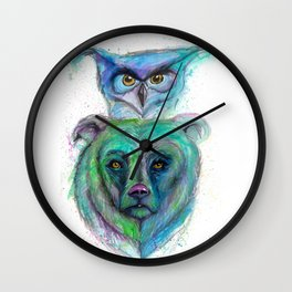 Owl and Bear Totem Wall Clock