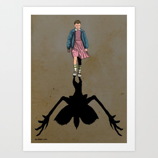 ELEVEN and the SHADOW OF THE DEMOGORGON - STRANGER THINGS Art Print