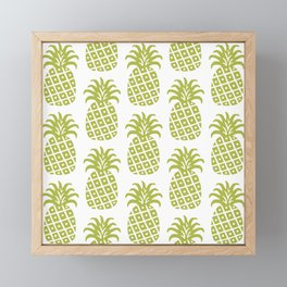 Retro Mid Century Modern Pineapple Pattern Olive Green Framed Mini Art Print