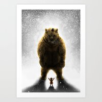 Little girl and her teddy bear Art Print