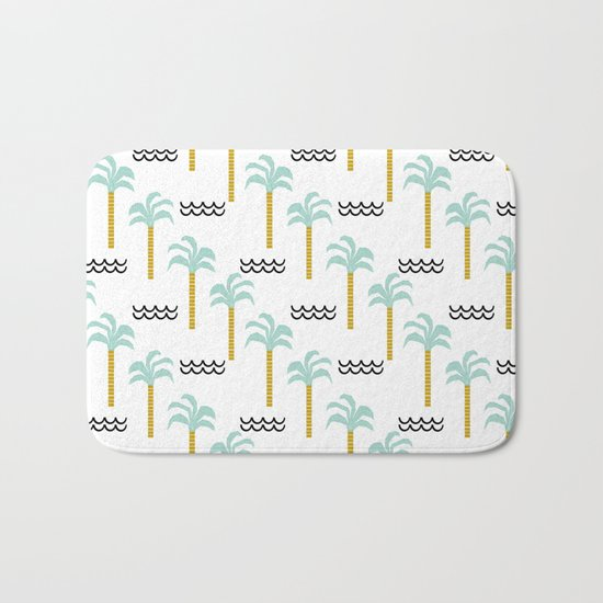 Palm Tree tropical island vacation wave water socal hawaii beach life salt life chilled out vibe Bath Mat