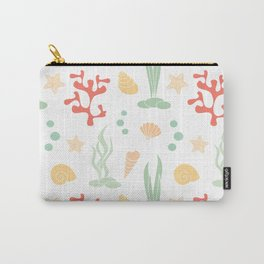 cute summer pattern background with seashells, corals and starfishes Carry-All Pouch