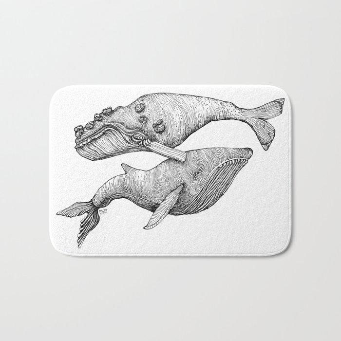 A Couple Of Whales  by Michelle Scott of dotsofpaint studios Bath Mat