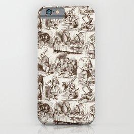 Alice in Wonderland | Toile de Jouy Pattern | Brown | Beige | Vintage Pattern | Victorian Gothic | iPhone Case