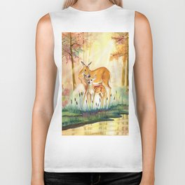 Mom and Little Deer Biker Tank