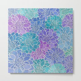 Dahlia Flower Pattern 6 Metal Print