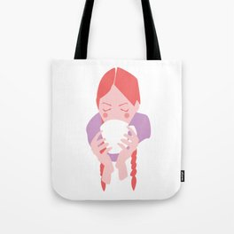 Redheaded Girl Sipping From Mug Tote Bag