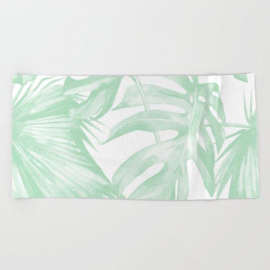 Light Green Tropical Palm Leaves Print Beach Towel