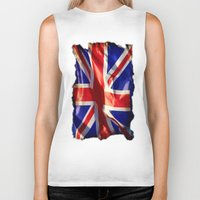 england Biker Tanks featuring England Flag by Fine2art