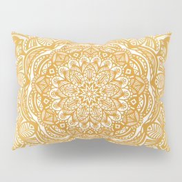 Golden Mustard Yellow Orange Ethnic Mandala Detailed Pillow Sham