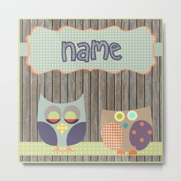 Woden Art Print Owls Customize your Name infant baby children toddler room interior design Metal Print