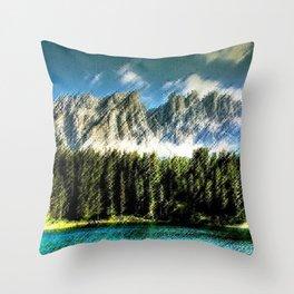 Carezza Lake Dolomites, Italy Landscape Painting by Jeanpaul Ferro Throw Pillow