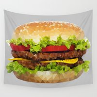 hamburger Wall Tapestries featuring Triangular HAMBURGER by JOlorful