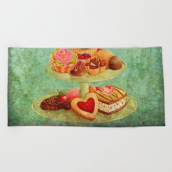 Sweets Vintage Poster 04 Beach Towel