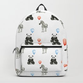 Panda and Zebra Balloons Pattern, Baby Animals Birthday Pattern Backpack