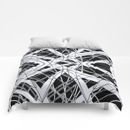 The Grid - Black and White Abstract Design Comforters