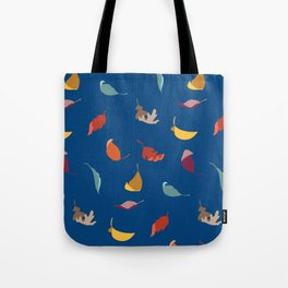 Fall Leaves on Blue Tote Bag