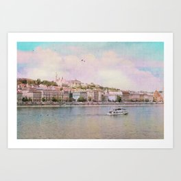 Dreamy Riverboat Cruising the Danube River in Budapest Art Print
