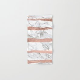 Modern chic faux rose gold brush stripes white marble Hand & Bath Towel