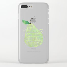 Watercolor pear | Fruit of the spirit | Green watercolor pear art print Clear iPhone Case