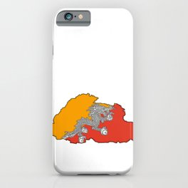 Bhutan Map with Flag iPhone Case