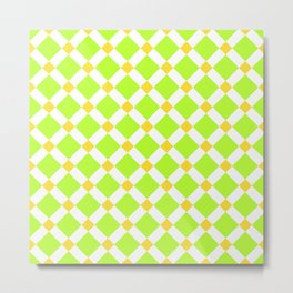 Bright neon green, yellow and white square ornament pattern Metal Print
