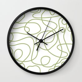 Doodle Line Art | Spring Leaf Green Lines on White Background Wall Clock