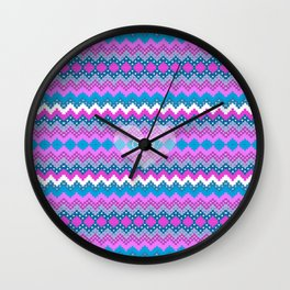 Winter chevron in teal and pink cozy heart Wall Clock
